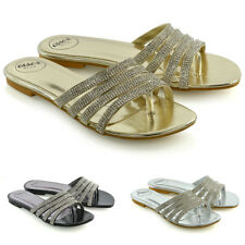 Womens Strappy Slider Shoes Ladies Flip Flop Sparkly Diamante Toe Post Sandals