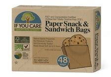 48 Unbleached Paper Snack Sandwich Bags Ideal for Snacks Lunch FSC Certified
