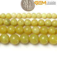 """Natural Round Yellow Green Lemon Stone Beads For Jewellery Making Loose Beads15"""""""
