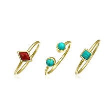 Bling Jewelry Reconstituted Turquoise Stacked Midi Ring Set Gold Plated Silver
