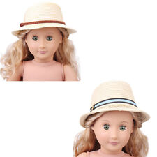 2 Style Summer Straw Hats Fit 43cm  Doll and 18 inch American Girl@