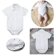 Baby Boys Shirt Button up Bodysuit Gentleman Short Sleeve Formal Romper Jumpsuit