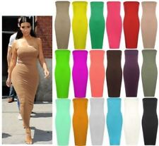 Womens Long Boob Tube Strapless Stretch Bodycon Ladies Pencil Midi Party Dress