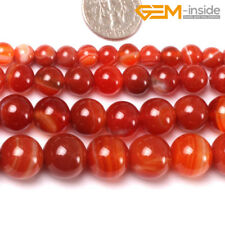"""Natural Red Stripe Sardonyx Agate Stone Loose Beads For Jewellery Making 15"""" CA"""