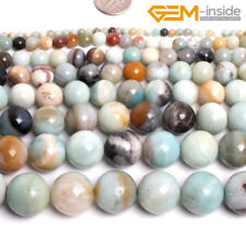 """Natural Multi Color Amazonite Round Loose Stone Beads For Jewellery Making 15""""CA"""