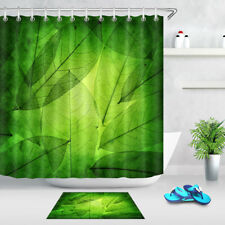 Green Leaves Fabric Shower Curtain Liner Bathroom Accessories Vintage Background