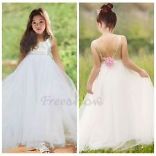 Girls Sequin Flower Tulle Dress Princess Pageant Wedding Bridesmaid Party Gown
