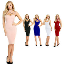 Women Bodycon Slim Short Midi Dress Halter Evening Cocktail Party Clubwear Dress