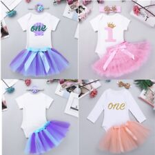 Baby Girls Casual Party Outfit 1st Birthday Romper Tutu Skirt Dress Headband Set