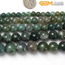 """Natural Round Green Moss Agate Stone Loose Spacer Beads Jewellery Making 15"""" CA"""