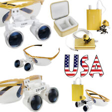 2.5x 3.5x Yellow Dental Loupes Surgical Binocular Optical Glass Head Light Lamp