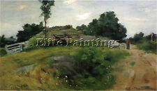 WEIR JULIAN ALDEN CONNECTICUT SCENE ARTIST PAINTING OIL CANVAS REPRO ART DECO