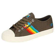 Gola Coaster Rainbow Womens Khaki Canvas Trainers
