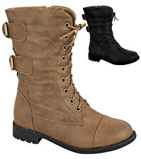 NEW Baby Lace Up Combat Boots Military Buckle Zipper Low Heel Toddler Size Shoes