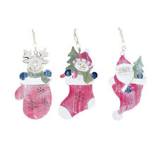 Wooden Christmas Sock Bauble Xmas Tree Hanging Ornament Christmas Decoration