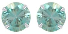 IGI Certified 3.12 Ctw Blue Moissanite Solitaire Stud Earring In 14K Solid Gold