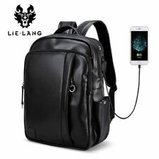 LIELANG Leather Backpack Men External USB Charge Laptop Backpack Travel Bags