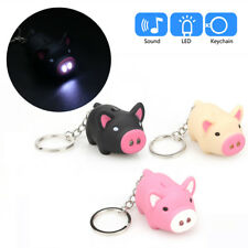 Cute Pig Mini LED Flashlight Torch Keychain With Sound Keyfob Gifts For Kids