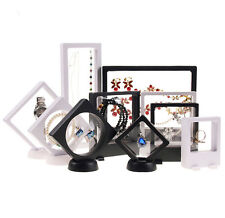 3D Floating Bracelet Ring Jewelry Coin Display Frame Holder Stand Box Case Black