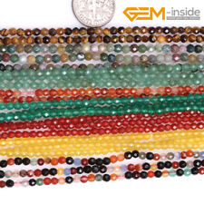 """2,3mm Natural Round Stone Faceted Tiny Spacer Seed Beads Jewellery Making 15"""" CA"""