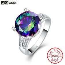 Rainbow Topaz Engagement Wedding Ring Set 925 Sterling Silver Rings For Women
