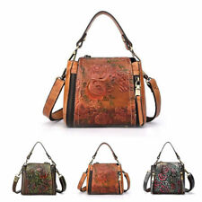 Vintage Womens Genuine Cow Leather Shoulder Bag Embossed Handbag Work Purse Lot