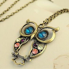 Owl Pendant Choker Collares Necklace Collier Retro Color Block Green Big Eyes