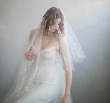Lace Edge Bridal Veils Beads One Layer Tulle Custom Made elbow Length With Comb