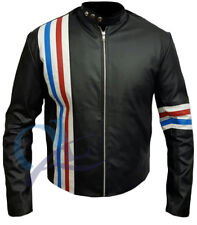 Easy Rider Motorcycle Real Leather Jacket with US Flag on the Back