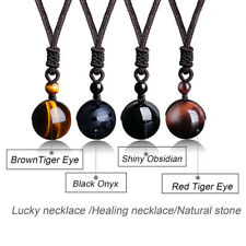 1X  HOT Round Tigers Eye Gemstone Pendant Necklace Lucky Blessing Chakra Beads