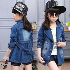 Spring Girls Denim Jean Coat Lapel Cardiagn Jacket Botton Cowboy Outwear Loose