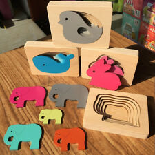 Wooden Jigsaw Puzzle Toys Animal Carton Multi Layer Puzzles Educational Kid Toy