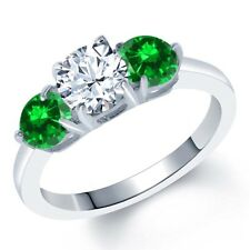 2.88 Ct White Created Sapphire Green Simulated Emerald 925 Sterling Silver Ring