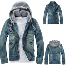 Vintage Casual Mens Denim Cowboy Jeans Hooded Jacket Slim Coat Casual Outwear