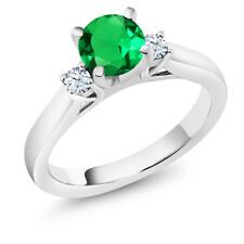 1.03Ct Simulated Emerald White Created Sapphire 925 Sterling Silver 3-Stone Ring