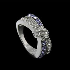 New Crystal Purple Amethyst White Gold Filled Jewelry Rings 6-10 Size Ring