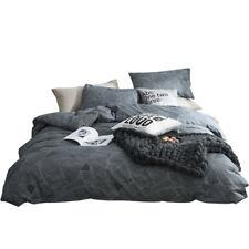 Leaf Duvet Cover Set Cotton Pillow Case Twin Full Queen King Size Bedding Grey