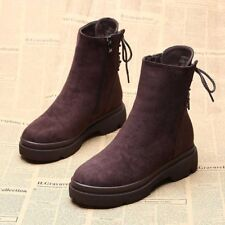 Women's Winter Ankle Martin Boots Suede Snow Booties Fur Lined Thicken Warm Zip