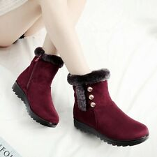 Women's Ankle Boots Winter Warm Thicken Fur Lined High Top Anti Slip Snow Suede