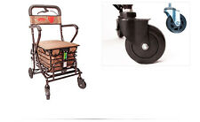 Dark Brown 4 Wheels Convenient Foldable Shopping Luggage Trolleys With Seat *#