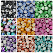 BeadTin White Swirl 10mm Round Acrylic Beads (100pcs) - Color choice