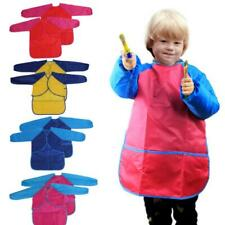 1 Pcs Hot Waterproof Pockets Childs Apron Kids Craft Smock Painting Cooking