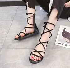 Womens Hollow out Low Heel Open toe Casual Roman Shoes Gladiator Summer Sandals