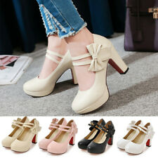 Women Platform Mary Jane Shoes Sweet Chunky High Heel Ankle Strap Dress Pumps