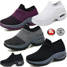 Women's Sport Air Cushion Sneakers Breathable Mesh Walking Slip On Running Shoes