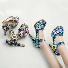 Womens Ankle Strap Elegant High Heels Mary Jane Shoes Flower Print Dress Pumps