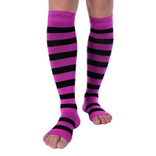 Doc Miller Open Toe Compression Socks 15-20 mmHg Recovery Varicose Veins PNK/BLK