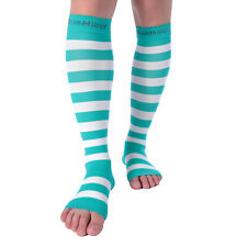 Doc Miller Open Toe Compression Socks 15-20mmHg Recovery Varicose Veins TEAL/WHT
