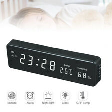 Digital LED Wall Clock Electronic With Temperature Humidity Display Home Clock,