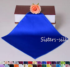 1 pc 100% Silk Charmeuse Handkerchief Hankie 30 colors On Sale! Sisters Silk